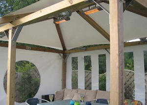 Two gazebo 1500 watt heating units in situ