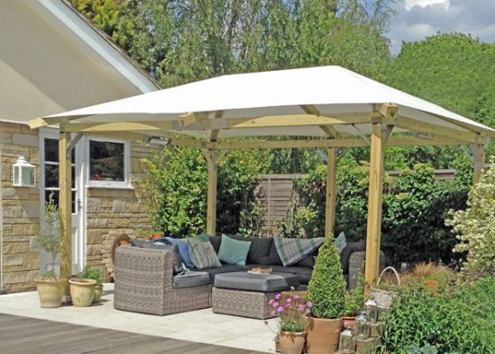 White Pavilion luxury garden gazebo, Provence 3m x 4m, 5 leg version